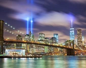Manhattan Skyline, New York Canvas, Wall canvas, 3 panels canvas or choose a single print, Brooklyn Bridge Canvas Art Print,NYC large canvas