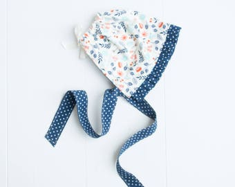Ruffled Baby Bonnet-Flowers & Polka Dots-Navy Blue/Cream