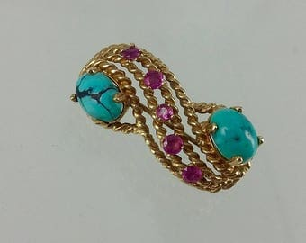 Vintage 14k Turqouise & Genuine Ruby Brooch/Pin
