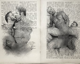 Erotic Gay poster  / Muscle mens love / nude muscular mens  / 2 pages Printing Antique  book  decor interior picture ART erotic souvenir