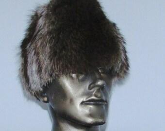 """Chapeau de fourrure de chat sauvage pour homme/raccoon men fur hat   22""""1/2"""