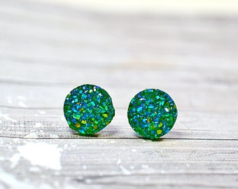 Spring Green Faux Druzy Earrings, Sparkly Fresh Kelly Green Crystal 12mm Round Posts, Glitter Stainless Steel Stud