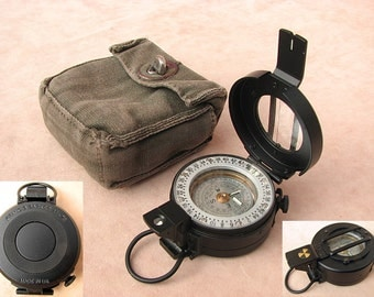 Francis Barker M-73 military prismatic compass mils version with canvas pouch