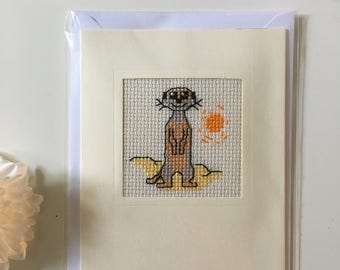 Meerkat Cross Stitch Card