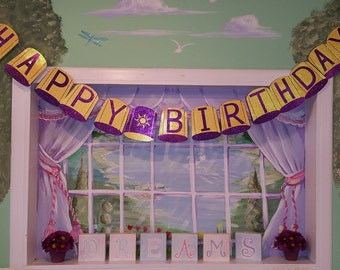 Rapunzel's Floating Lantern Happy Birthday Banner-Rapunzel Party-Tangled Party! Free Shipping