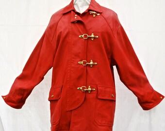 Vintage Ralph Lauren Red Lamb's Leather Women's Coat/1990s Women's Red Leather Coat/Vintage Women's Leather Coat/1990s Vintage RL Coat