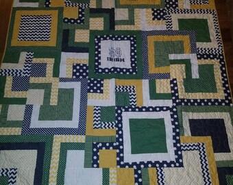 Notre Dame Quilt, Team Spirit Quilt, Modern, Handmade and Hand pieced