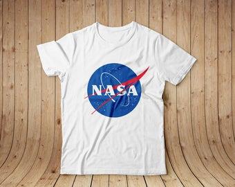 NASA logo white t-shirt shirt, cotton, all sizes