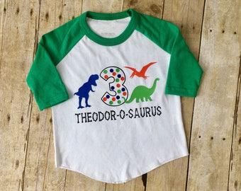 Dinosaur Shirt - Boy Birthday Shirt - Dinosaur Birthday Party - Toddler Raglan - Dinosaur Baseball Tee