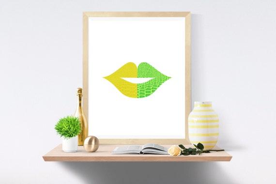 Yellow Lips, Green Lips, Yellow Kiss, Green Kiss, Yellow Wall Art, Green Wall Art, Yellow Wall Decor, Green Wall Decor, Yellow, Green, Kiss
