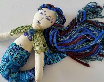 Doll, mermaid, OOAK doll, heirloom doll, handmade mermaid, stuffed toy, handmade doll, embroidery, blue mermaid.