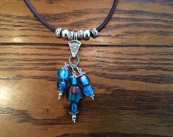 Lampworked Glass Bead Pendant Necklace on Brown Leather Cord