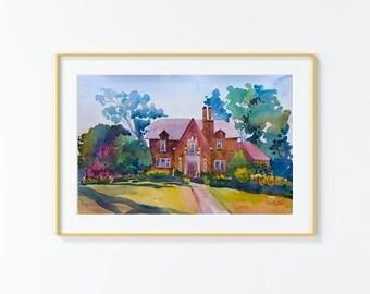 Original Watercolor Painting,Watercolor Painting,landscape,San Antonio,W Elsmere Pl,
