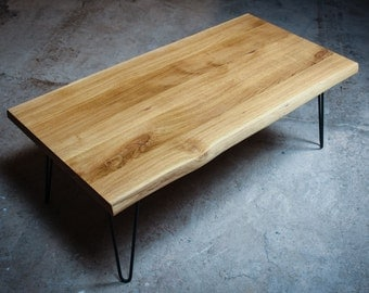 COUCH POTATO, coffee table in oak with edges on hair pin legs, home furniture, coffee table, coffee table, desk