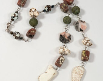 """Mixed Stone Necklace- 9"""" Linked Cord"""