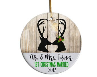 First Christmas Married Ornament, 1st Christmas Married, Christmas Ornament, Wedding Gift, Personalized Ornament, Newlywed Gift