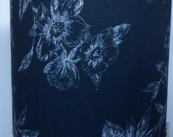 Navy blue lampshade, navy blue with white flower silhouette, perfect for a housewarming gift for a friend or loved one