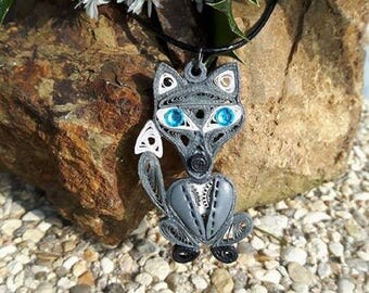 Necklace in fimo steampunk quilling Wolf