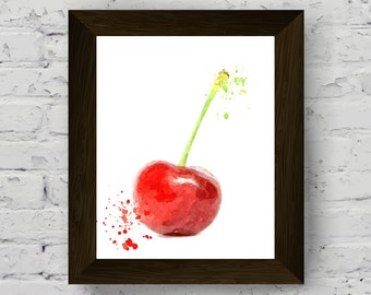 cherry print art, kitchen wall decor, fruit watercolor print artwork, food poster, fruit wall art, digital download, modern contemporary art