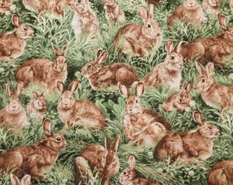 Animal Fabric-American Wildlife Rabbits Fabric