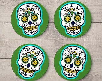 Mexican Sugar Skulls - Day Of The Dead - Halloween Party Decor - Round Drinks Coasters Set of 4 - Green