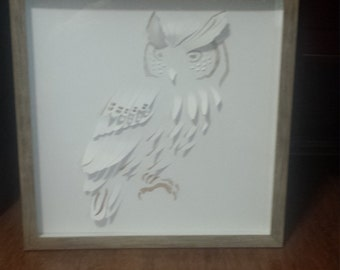 Owl Art- Owl Cut-out - Vintage- Framed