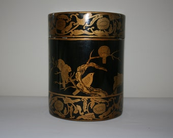 Vintage Chinese Lacquer Box - Black & Gold Chinese Lacquer Box - Birds