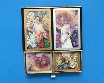FAIRY LADIES; Congress Double Deck Playing Cards;   Vintage Fairy Ladies with Silver/Gold Gilt Trim;  Different Fairy Ladies;  Made in Spain