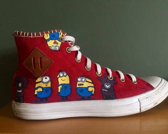 Hand painted one of a kind minion inspired converse