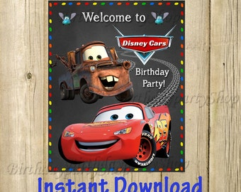 Disney Cars Welcome sign, Digital File