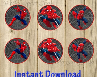 Spider-Man Cupcake Toppers, Spider-Man Birthday Circles, Instant Download, Digital File