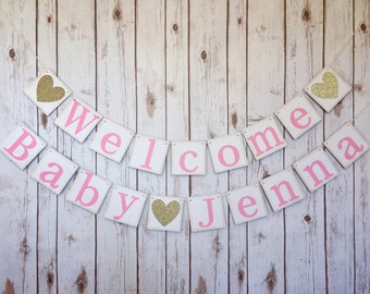 Welcome Baby Banner / Baby shower decorations / baby shower sign / girls baby shower / welcome baby / princess baby shower / pink and gold