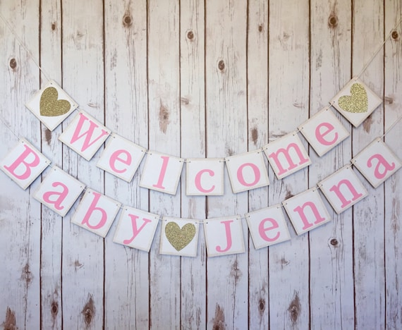 Welcome baby banner baby shower decorations baby shower for Welcome home baby shower decorations