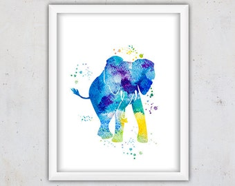 Nursery Elephant Print, Safari Animal Art Print, Watercolor Elephant Art Print, Kids Digital Instant Download Print, Printable Nursery Art