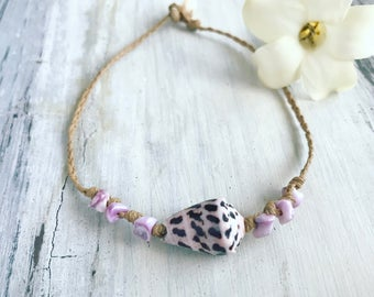 Purple Hebrew cone shell anklet - handmade in Hawaii