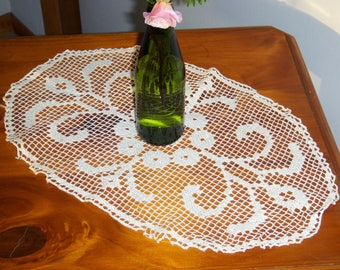 Oval 17 x 10.5 lace crochet doily table topper. Vintage mid century.