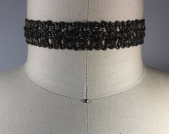 Sparkle Gold Black Choker