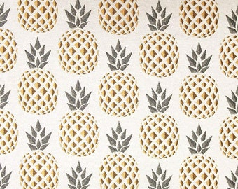 Fabric Jacquard pineapple yellow and grey - size to 1 quantity 50 cm x 140 cm