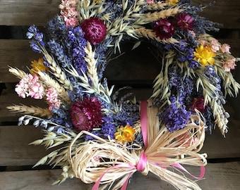 Handmade Rustic Dried Flower Twig Circular Wreath Lavender Wheat