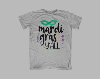 Mardi Gras Y'all - Southern - Graphic Tee - Throw Me Something Mister - Beads - Bling