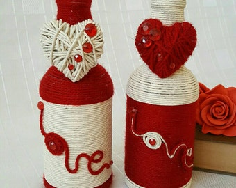 Yarn Wrapped Bottle Red and White Valentine's Gift for Her Decorated Bottle Art