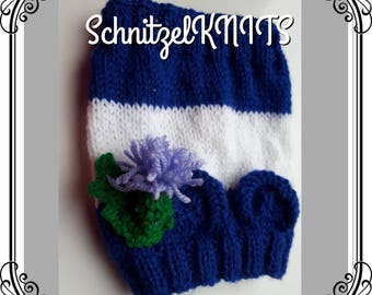Cute Scottish colours hat/ snood, with little mouse ears and thistle decoration.Dog hat snood hood.