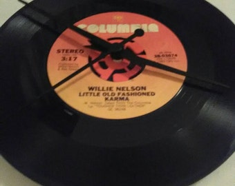 Willie Nelson 45 Record Clock - Little Old Fashioned Karma