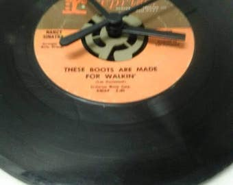 Nancy Sinatra 45 Record Clock - These Boots Are Made For Walkin