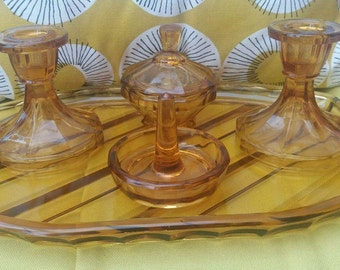 Vintage glass dressing table set