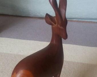 Vintage 1960s teak hand carved gazelle
