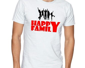 Happy Family White T-shirt 100% Cotton Tee Feel The Family Love At Any Gathering Especially At Home In This Cool T Shirt