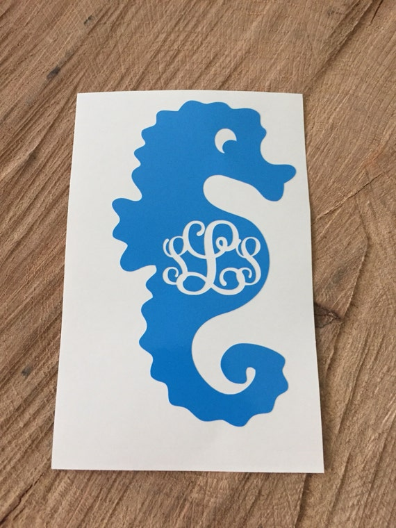 Seahorse Monogram Decal From Shopsuttonspring On Etsy Studio