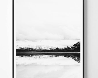 Mountain Print, Nature, Black and White Photography, Minimal photo, Minimalist, Nature Wall Art, Landscape print, Scandinavian Printable Art