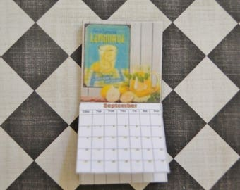 1:12 scale Custom Vintage Wall Calendar Dollhouse Miniature.